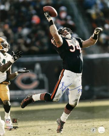 Brian Urlacher Chicago Bears - Interception vs. Packers Autographed Photo (Hand Signed Collectable)