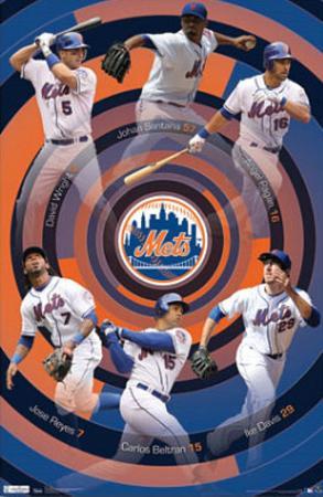 New York Mets Team Wright Santana Pagan Davis Beltran Reyes