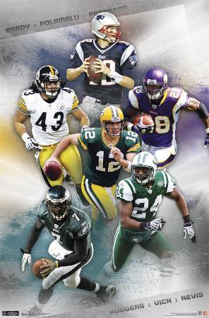 NFL Superstars Brady Polamalu Peterson Rodgers Vick Revis