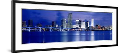 Panoramic View of an Urban Skyline at Night, Miami, Florida, USA