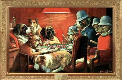 C. M. Coolidge (Pinched with Four Aces, Dogs Playing Poker) Art Poster Print