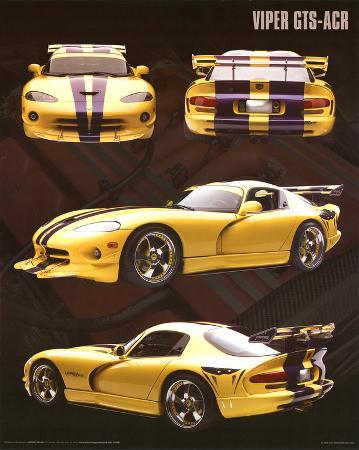Dodge Viper (GTS-ACR, Yellow) Art Poster Print