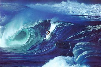 Big Wave Surfing Waimea Shorebreak Hawaii Art Print Poster