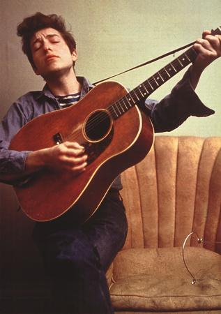 Bob Dylan Young with Guitar Music Poster Print