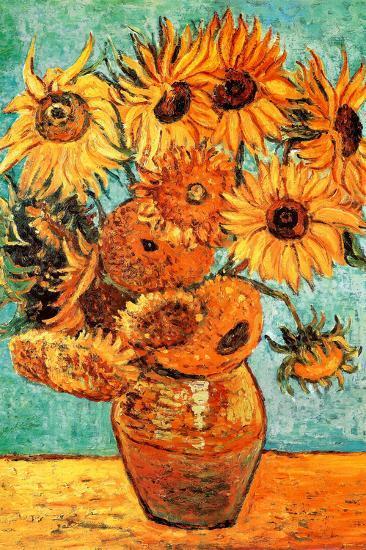 Vincent Van Gogh Vase With Twelve Sunflowers Art Print Poster Prints At Allposters Com