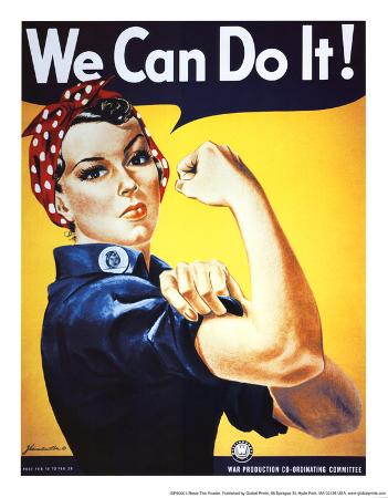 Rosie the Riveter (Female Worker - World War II) Art Poster Print