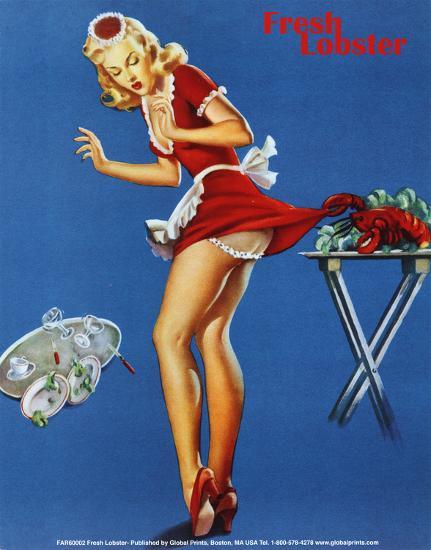 Fresh Lobster Blonde Waitress Pinched Retro Art Print