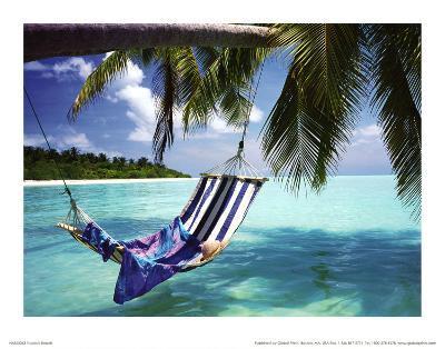 Tropical Beach (Hammock Under Tree) Art Poster Print