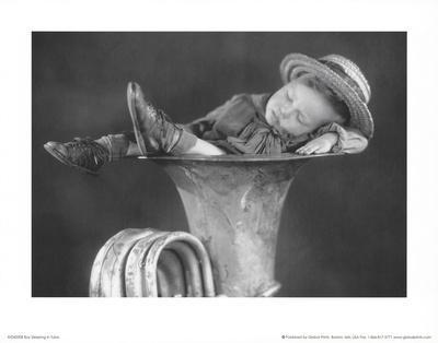 Boy Sleeping in Tuba Art Print Poster