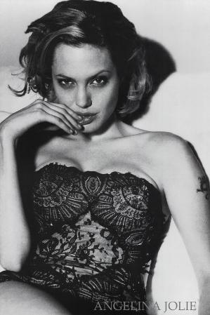 Angelina Jolie Movie (In Black Lace) Poster Print