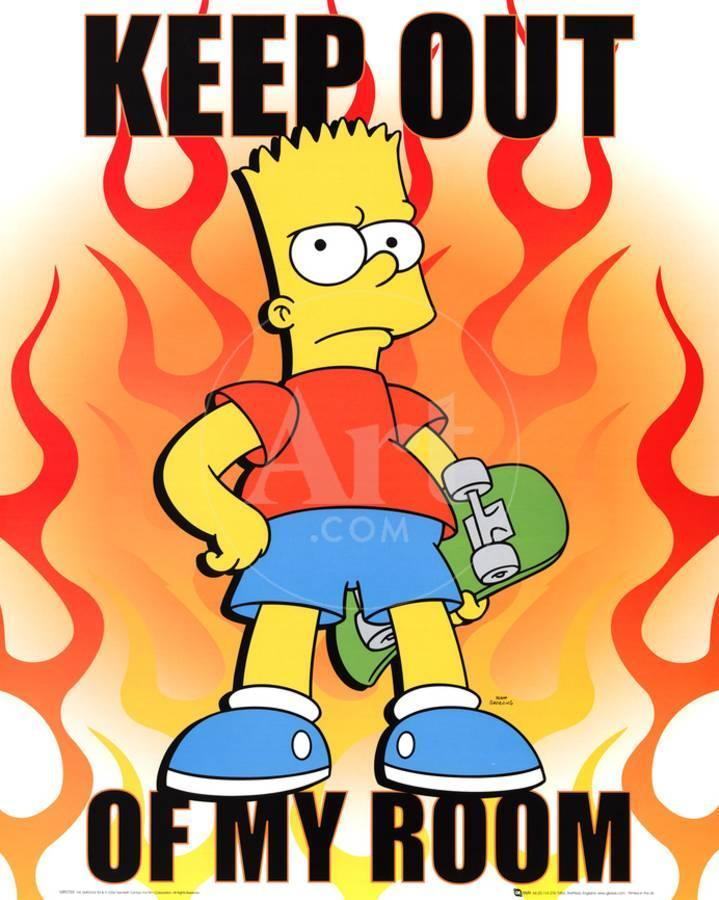 the simpsons keep out of my room bart simpson tv poster print