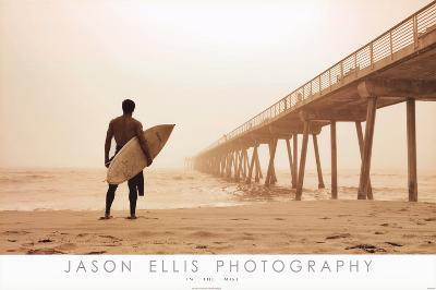 Jason Ellis In the Mist Surfer on Beach Art Print Poster