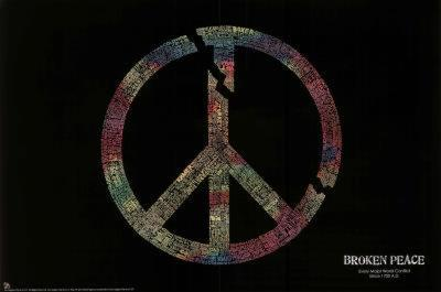 Broken Peace Sign Major World Conflicts Art Print Poster