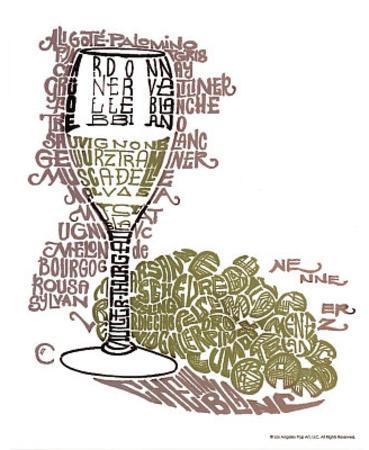 Wine Glass Whites Text Art Print Poster