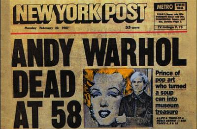 Andy Warhol Dead NY Post headline Postcard pop art
