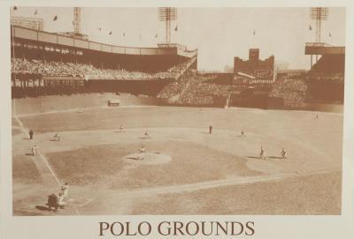New York Polo Grounds Vintage B&W Photo Sports Poster Print