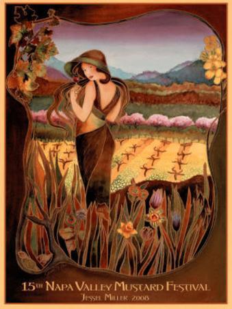 Jessel Miller Original 2008 Napa Valley Mustard Festival Art Print Poster