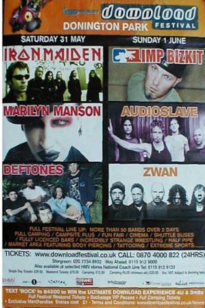 Download Festival Iron Maiden Marily Manson Huge Original Music Poster