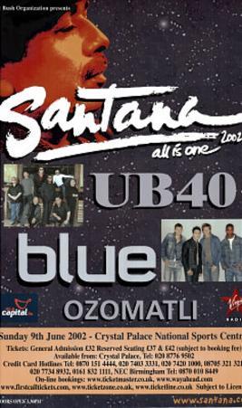 Santana w/ UB40 (2002 Concert Flyer) Original Huge Music Poster