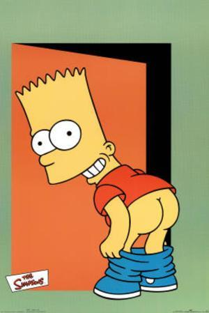 The Simpsons Pants Bart Mooning TV Poster Print