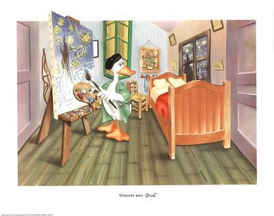 Vincent Van Duck (Duck Painting in Bedroom) Art Poster Print