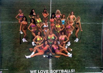 80s Campy Sports Pin-Up, We Love Softballs, Photo Print Poster