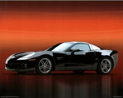 2006 Chevy Corvette Z06 Black Car Art Print Poster