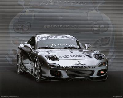 1995 Mazda RX7 Silver Car Art Print Poster