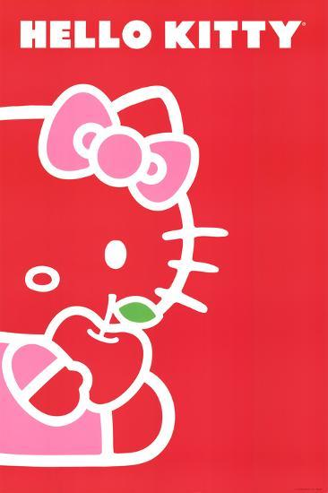 Hello Kitty Red Apple Red Background Art Poster Print Print At