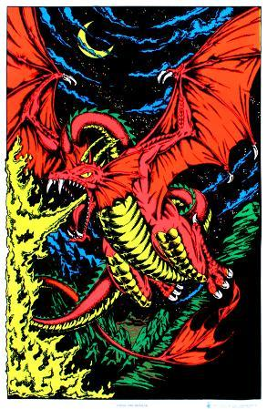 Fire Dragon Blacklight Poster Print