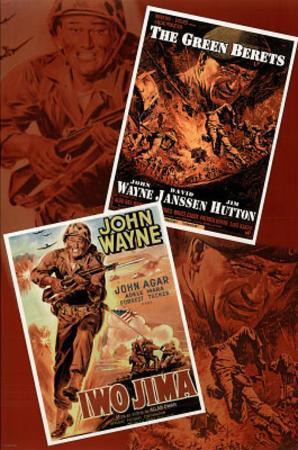 John Wayne Double Feature Green Berets and Iwo Jima Movie Poster Print