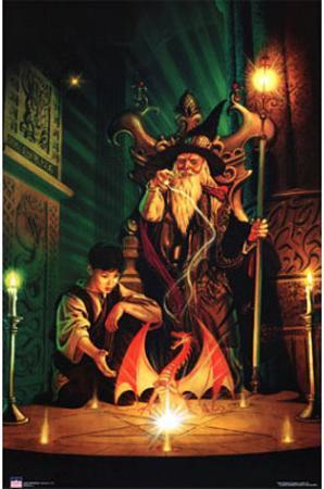 Dragon Wizard - & Child, Art Poster Print