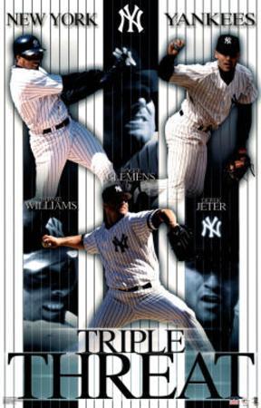 New York Yankees Derek Jeter Bernie Williams Roger Clemens Triple Threat Sports Poster Print