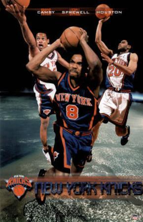 New York Knicks Marcus Camby Latrell Sprewell Allan Houston Sports Poster Print