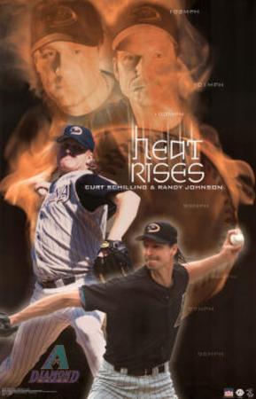 Arizona Diamondbacks Curt Schilling Randy Johnson Heat Rises Sports Poster Print