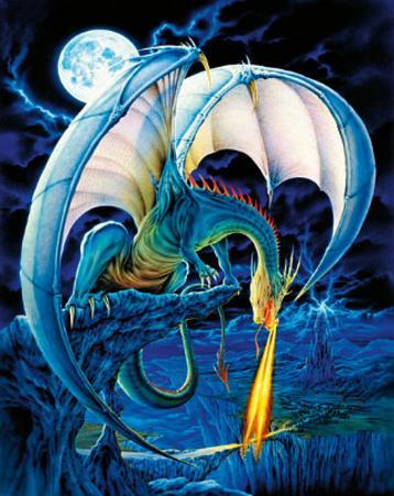 Dragon Causeway (Blue Dragon) Art Poster Print