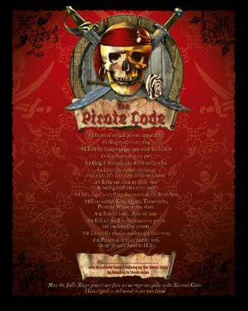 The Pirate Code List (mature wording) Art Poster Print