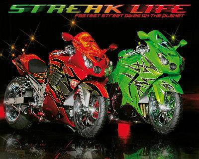 Streak Life (Red & Green Motorcycles) Art Poster Print
