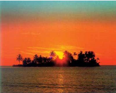 Sunny Island (Sun Setting Behind Island) Art Poster Print