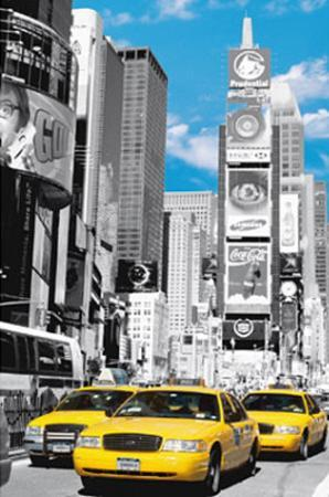 New York City (Taxis in Times Square) Art Poster Print