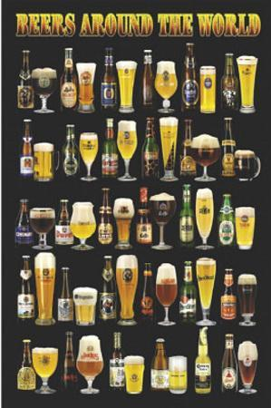 Beers Around the World Beer Bottles and Glasses Art Poster Print