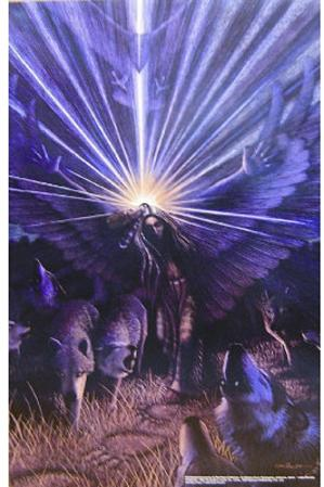 Wolf Shaman (Holding Light) Art Poster Print