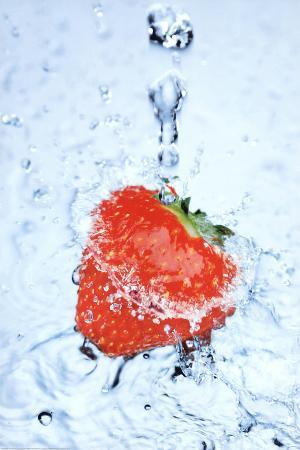 Strawberry on Ice Splash Art Print Poster
