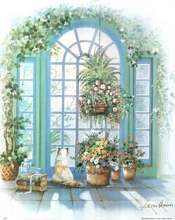 Atrium Window Floral Art Print Poster flower cat kitten