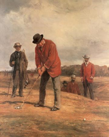 Boys Playing Golf on Hill (Painting) Sport Art Print Poster
