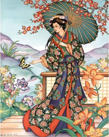 Asian Lady with Parasol Art Print Poster