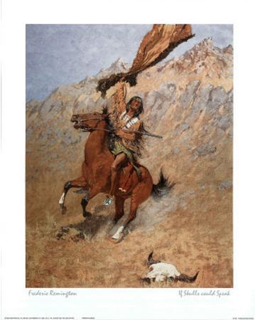 Remington Speaking Skull Indian Art Print Poster