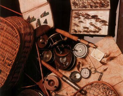 Fly Fishing Rod Reel and Lures collage 2 Art Print POSTER