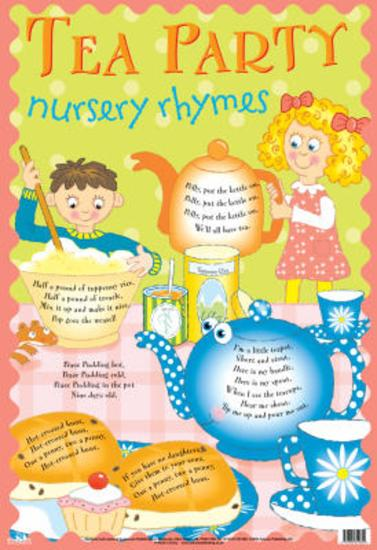 Laminated Tea Party Nursery Rhymes Educational Chart Poster Print