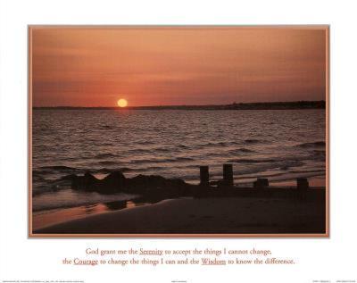 Serenity Prayer Ocean Beach Sunset Art Print Poster